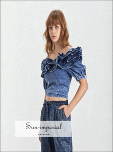 Charley Top - Denim Shirts Top Female Square Collar Ruffle Patchwork Short Sleeve Short Shirt Denim Shirts Ruffle Patchwork Short Shirt