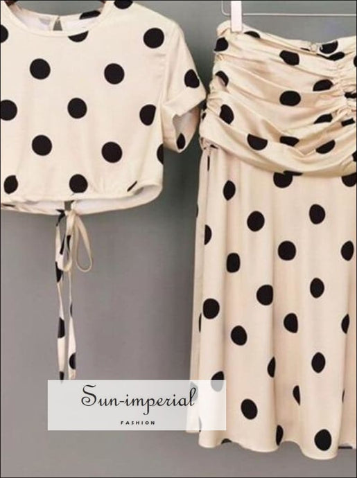 Chelsea Polka Skirt Set -polka Dot Crop top Short Sleeve O Neck Tie back Blouse and Midi SUN-IMPERIAL United States