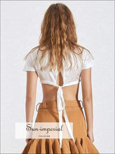 Chelsea top - White Satin Crop Short Sleeve O Neck Tie back Blouse BASIC, best seller, blouse, Tops Female, high neck SUN-IMPERIAL United