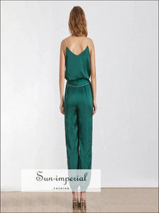Christine jumpsuit - Diamond strap green and black solid jumpsuit Diamond Patchwork Full Length Pants Two Piece Set V Neck vintage