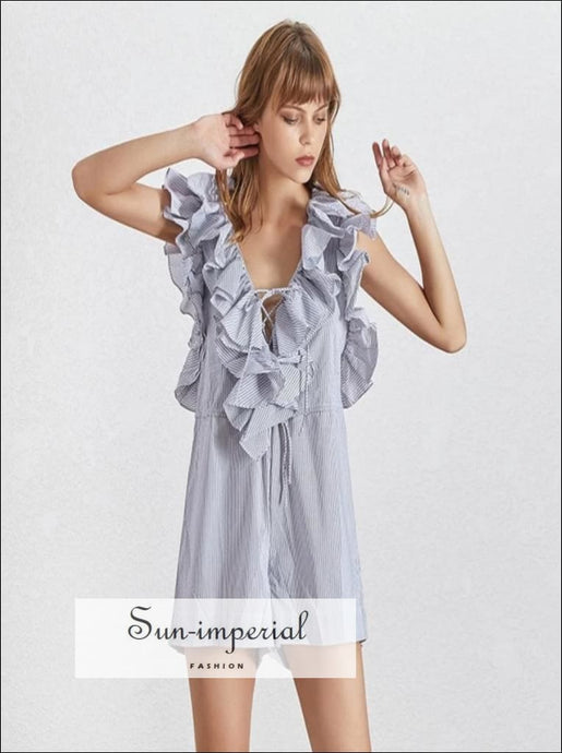 Clara Romper - Casual Striped Playsuit Women V Neck Sleeveless off Shoulder High Waist Ruffle