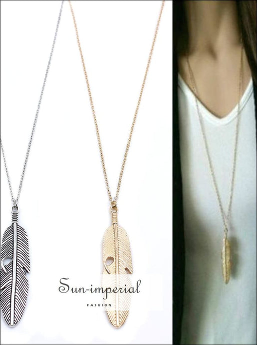 Classic Feather pendant Necklace Long Chain Statement Necklace for Women SUN-IMPERIAL United States