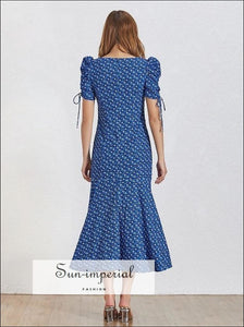 Colette Dress- Blue Vintage Floral Print Midi Dress V Neck Puff Short Sleeve High Waist Ruched Midi