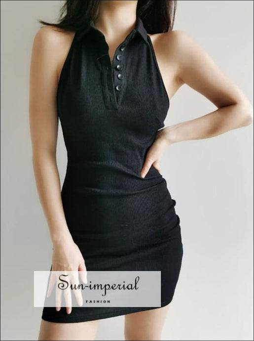 Collar Button front Bodycone Rib Black Mini Dress SUN-IMPERIAL United States