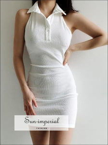 Collar Button front Bodycone Rib White Mini Dress