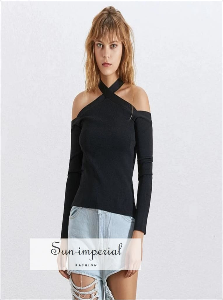 Colombes top - off Shoulder Halter Kintted Sweaters Women Long Sleeve Knitting Sweater top