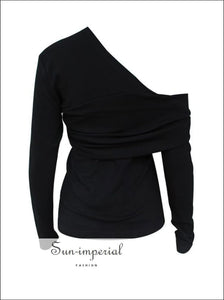 Colorado top - One Shoulder Women T Shirt Long Sleeve Asymmetrical Solid Black and White Blouse