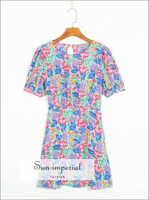 Colorful Floral Print Mini Dress with High O Neckline Short Sleeve Vintage Ruffles Decor dress neckline short sleeve SUN-IMPERIAL United
