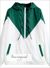 Contrast Drawstring Hooded Zip up Jacket