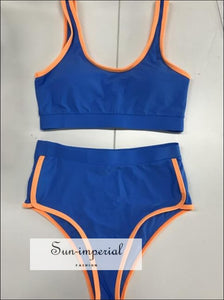 Contrast Trim High Rise Padded Tankini Swimwear Bikini Set