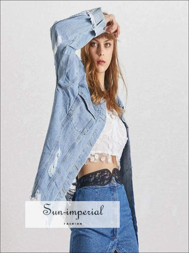 Cool it off Jacket - Autumn Denim Jacket for Women Lapel Collar Long Sleeve Ripped Hole Coat