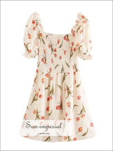 Cream Floral Mini Dress Short Sleeve Square Neck Smocked Bodice Puffed Sleeve Usa