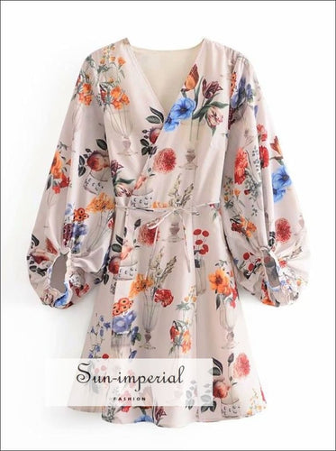 Cream Letran Long Sleeve Kimono Style Wrap Mini Dress with Floral Print Unique style SUN-IMPERIAL United States