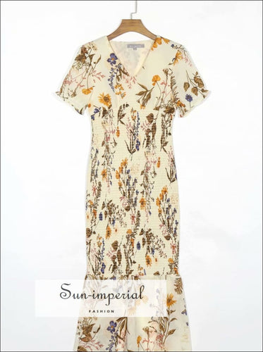 Cream Midi Dress with Brown Floral Print V Neck Vintage Shredded SUN-IMPERIAL United States