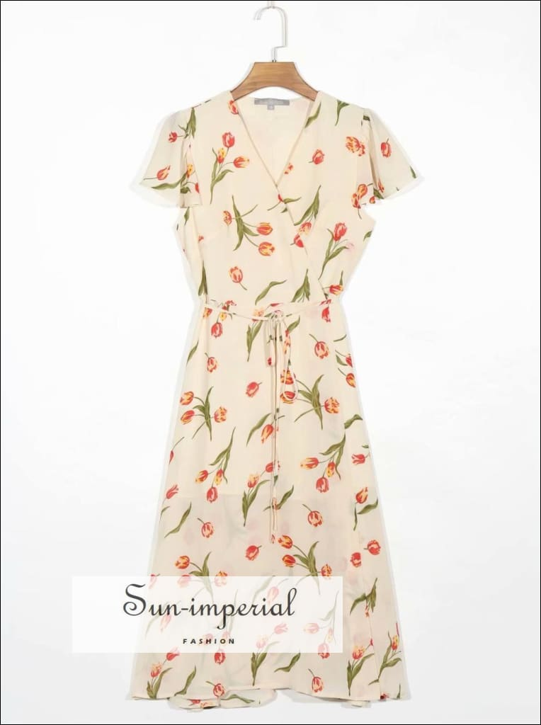 Cream Tulip Print Wrap Short Sleeve Midi Dress with front Split vintage style SUN-IMPERIAL United States