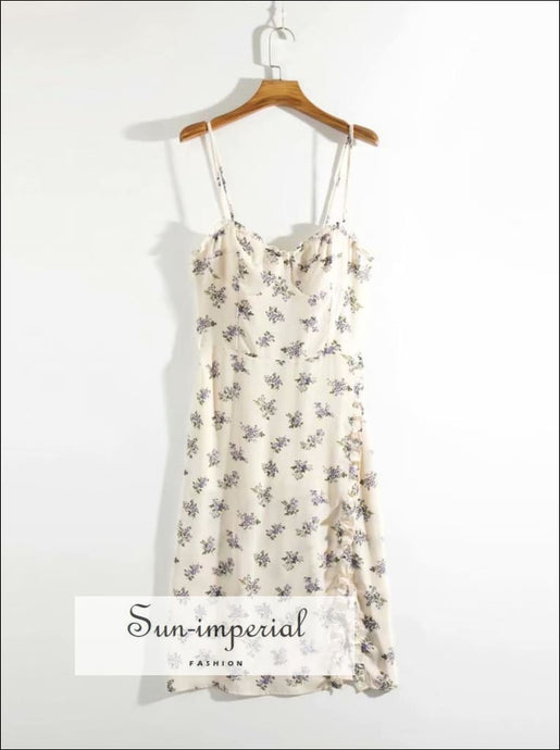 Cream Vintage side Ruffles Split Midi Dress with Cami Strap and Purple Floral Print