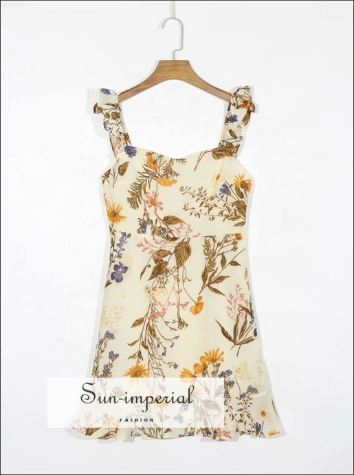 Cream Vintage Sleeveless Yellow Brown Floral Print Mini Dress with Ruffles detail chick sexy style, vintage style SUN-IMPERIAL United States
