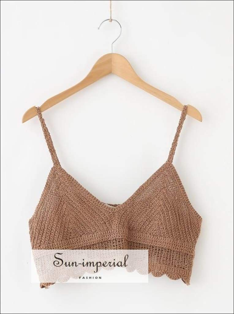 Crochet Crop Cami top Short Style SUN-IMPERIAL United States