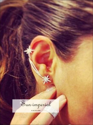 Crystal Star Earrings Ear Cuff Clip On Earrings Wrap For Women SUN-IMPERIAL United States