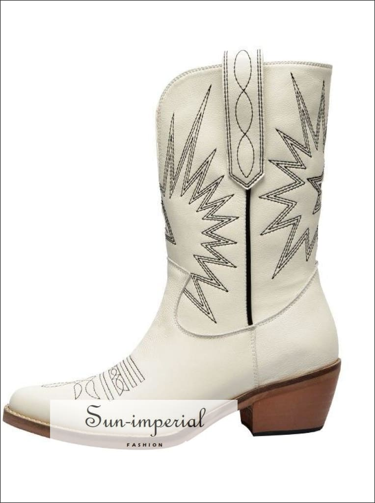 Curvaness White Beige Black Genuine Leather Cowboy Boots for Women Med-Heel Boots Western Cowgirl Boots SUN-IMPERIAL United States