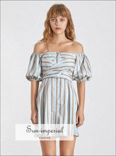 Cybil Dress - Casual Striped for Women Asymmetrical Collar Half Sleeve High Waist Hit Color Collar, Dress, Sleeve, Waist, vintage