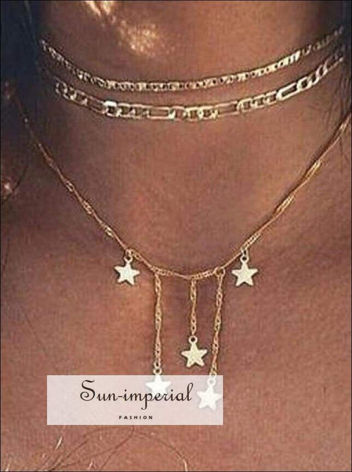 Dainty Gold Chain Tiny Star Choker Necklace for Women Layered Necklaces Pendants Simple Boho