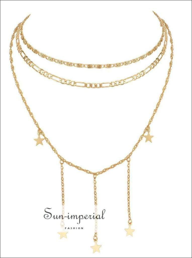 Sun Imperial Dainty Gold Chain Tiny Star Choker Necklace For Women Layered Necklaces Pendants Sun Imperial