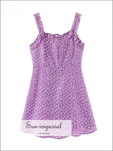 daisy print, florl print, flower printDaisy Print Purple Dress Women Summer Ruffles Cami Strap Mini Dress Elastic Waist Dress