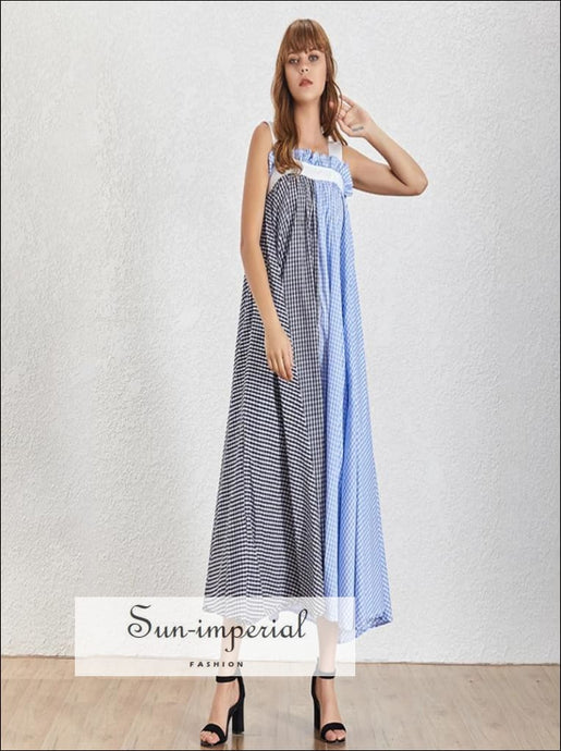Dallas Dress- Plaid Two Tone a Line Women Maxi Dress Slit Oversize Sleeveless Grid Maxi Dress