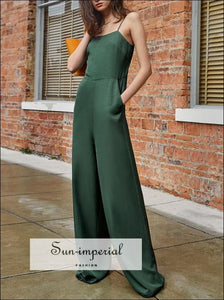 Dark Green Cami Strap Satin side Pockets Casual Wide Leg Women Jumpsuit with Square Collar High elegant style, women wide leg jumpsuit