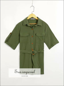 Dark Green Short Sleeve Women Jumpsuit with Big Pocket and Belt detail Romper Basic style, chick sexy street Unique vintage style