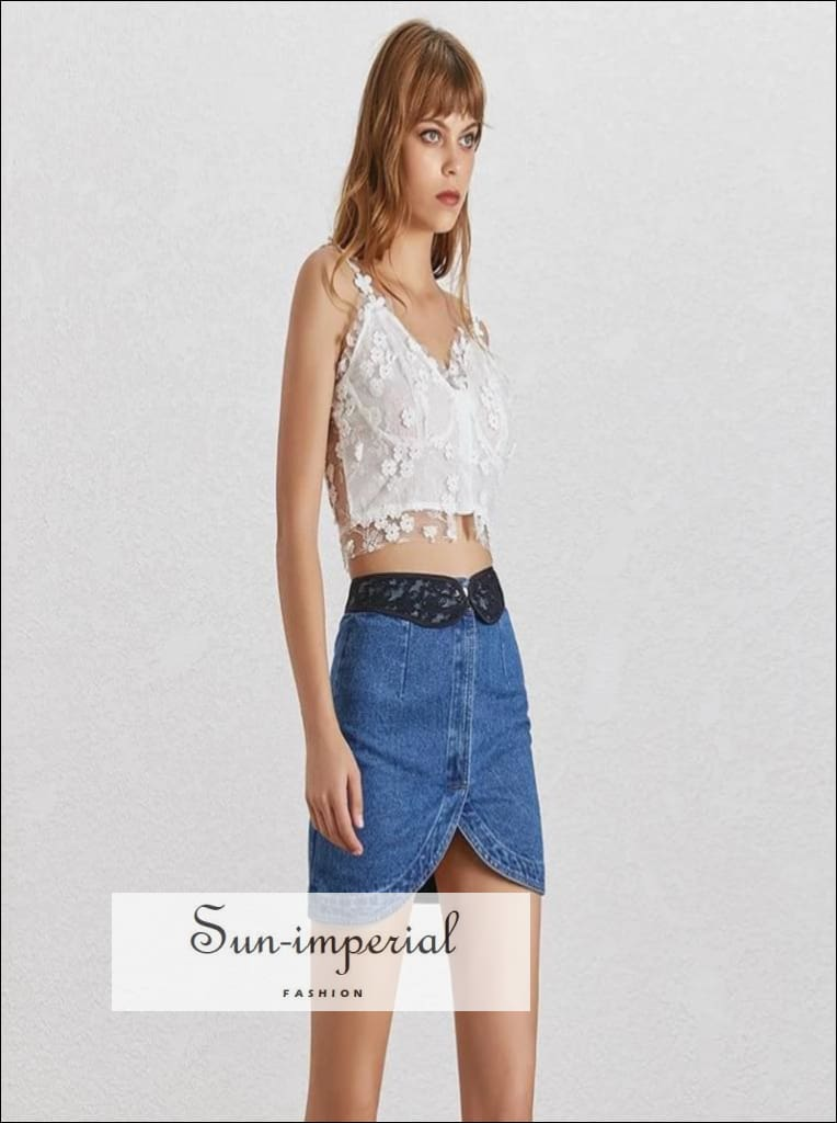 Dayana Skirt - Lace belted denim For Women High Waist Asymmetrical Mini Female Fashion, l Skirts, Women, Summer Patchwork Skirt, Vintage