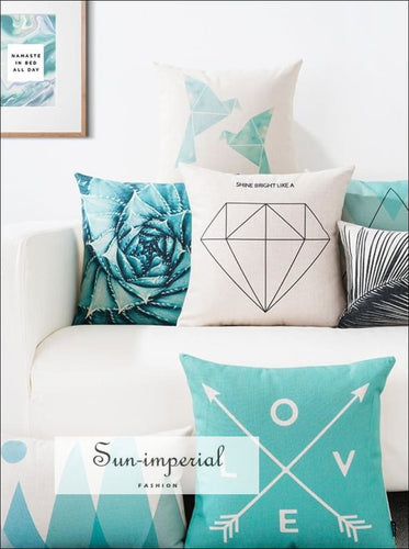 Decorative Pillow Cover Geometric Printed Cushion Home Decor Throw Case home decor, pillow case SUN-IMPERIAL United States