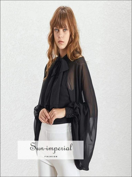 Demi top - Women's Black Sheer Chiffon Long Lantern Sleeve Bow Tie Blouse Bandage Bow, Black, blouse, Shirt, elegant style SUN-IMPERIAL