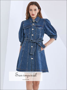Denim A-line Single Breasted Mini Dress with 3/4 Puff Sleeve Turn Down Collar and Sashes detail casual style, Dress, jeans dress, Unique