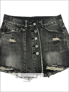 Denim mini skirt washed high waist a-line jeans mini skirt BASIC SUN-IMPERIAL United States