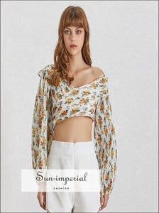 Diana top - Floral Print Women Shirt off Shoulder V Neck Lantern Sleeve Pleated Crop Female Fashion Clothes, Off Shoulder, Shirt, Pleated,