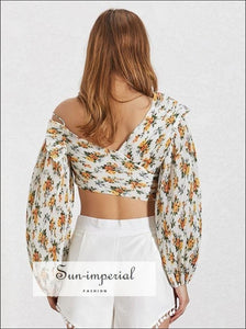 Diana top - Floral Print Women Shirt off Shoulder V Neck Lantern Sleeve Pleated Crop top