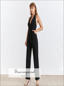 Dole Jumpsuit - Women Jumpsuit V Neck Halter Sleeveless High Waist Backless Wide Leg Pants