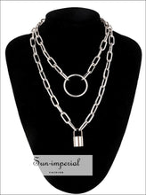 Double Layer Lock Chain Necklace Punk 90s Silver Color Padlock Pendant Gothic Jewelry SUN-IMPERIAL United States