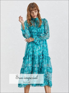 Dove Dress -blue Floral Print Midi Dress Stand Collar Flare Long Sleeve Ruffles Casual Dress