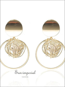 Drop Earrings for Women Geometric Simple Dangle Fashion Glossy Plated Long Earrings SUN-IMPERIAL United States
