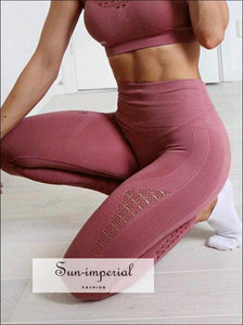 Elastic breathable yoga pants womens high waist push up leggings fitness running sports Ladies SUN-IMPERIAL United States