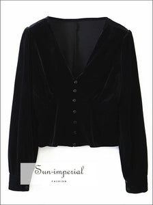 Elegant Black Velvet Blouse Deep V Center Buttoned Long Sleeve Women top long Top, elegant style, vintage style SUN-IMPERIAL United States
