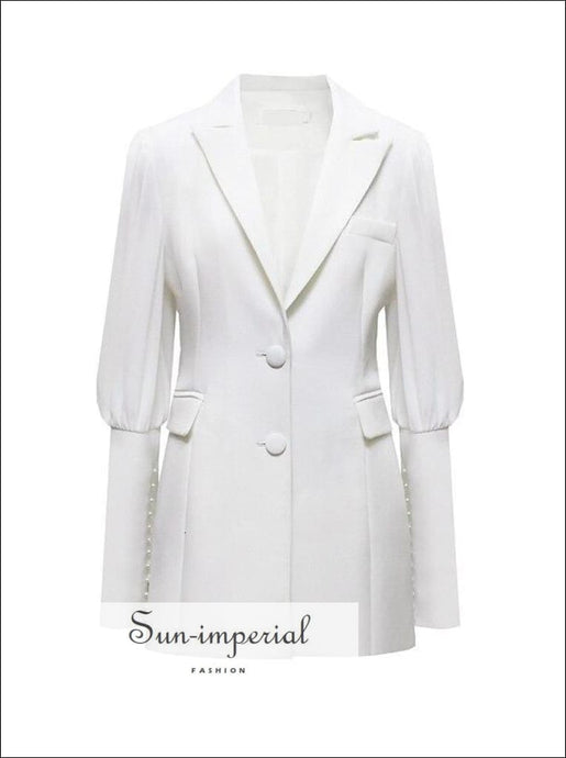 Elegant White Women Blazer with Lapel Collar Puff Long Sleeve front Pocket and Beading detail elegant style, Unique style SUN-IMPERIAL