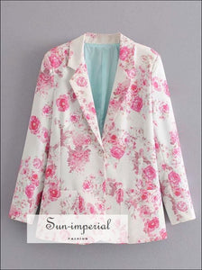 Elegant Women White with Pink Floral Print Blazer Single Button and Pockets detail chick sexy style, elegant unique vintage women floral