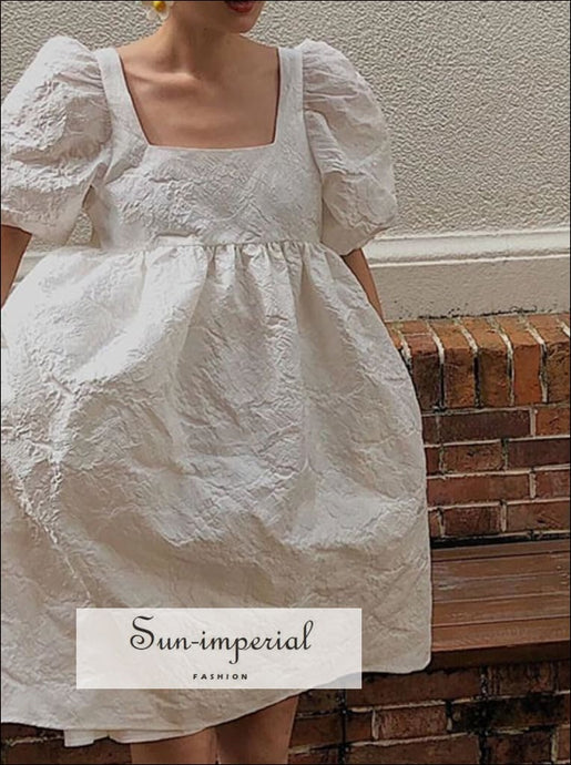 Embroidery White Puff Short Sleeve Square Collar Loose Midi Dress Unique style, vintage style SUN-IMPERIAL United States