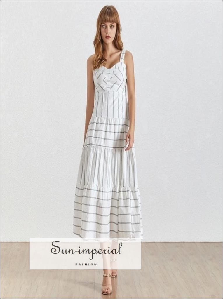 Emily Dress - White Sleeveless Striped Maxi Ankle Length Dresses, Off Shoulder, Sleeveless, Dress, vintage SUN-IMPERIAL United States