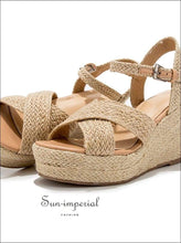 Espadrilles Sandals Womens Heeled Rustic Wedge Beach Resort Footwear SUN-IMPERIAL United States