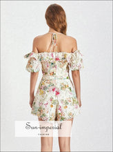 Evelyn Shorts Set - Two Piece Set Vintage Floral Print Puff Sleeve off Shoulder Backless top